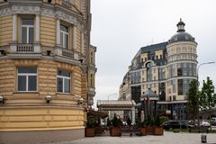 Moskau, Russland kann 25, Ansicht 2019 von Baltschug-Stra?e, Eingang zum Luxushotel Baltschug Kempinski stockbilder