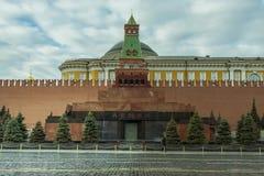Moskau/Russland - 04 2019: Lenin Mausoleum auf dem Roten Platz in Moskau lizenzfreies stockbild