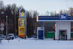 MOSKAU, RUSSLAND - 20. MÄRZ 2018: Brennstoffaufnahmestation TNK in einem von Lizenzfreie Stockfotos