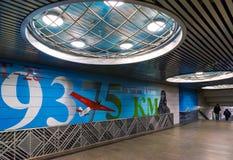 Moskau, Russland - 10. März 2016 Graffiti auf Thema von Chkalov-` s Flug von Moskau nach Kanada über Nordpol in der U-Bahn Lizenzfreie Stockfotos