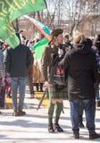 MOSKAU, RUSSLAND - 24. MÄRZ 2018: Leute feiern den TAG des HEILIGEN PATRICK Stockbilder