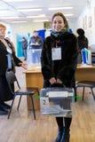 MOSKAU, RUSSLAND - 18. MÄRZ 2018: Mitglied des Wahl commissi Lizenzfreies Stockfoto