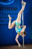 MOSKAU, RUSSLAND - 22. MÄRZ: Pole-Sportauslese 2014 am 22. März 2014 in Moskau, Russland Stockbild