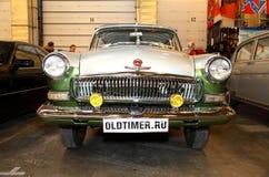 MOSKAU, RUSSLAND - 9. MÄRZ: Retro Automobil GAZ Volga an dem XXI Lizenzfreie Stockbilder