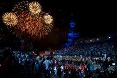 Moskau, Russland Mai, 9, 2011 Begrüßen Sie während der Parade auf Rotem Platz zu Ehren des Sieges über der Nazibesetzung Stockfotografie