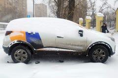 Moskau, Russland - 8. Mai 2019: ?bergang von einer der Firmen, die Carsharing- Dienstleistungen erbringen Auto von Yandex-Antrieb lizenzfreies stockfoto