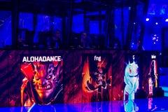 MOSKAU, RUSSLAND - 14. MAI 2016: Cybersport EPIZENTRUM-MOSKAUS Dota 2 Ereignis Spiel-Auswahl von Helden auf dem Schirm Team virtu Lizenzfreie Stockfotos