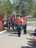 Moskau, Russland am 9. Mai 2018 den großen patriotischen Krieg durch Soldaten des Transfigurationsregiments und -Kriegsveteranen  stockfotografie