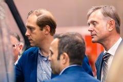 MOSKAU, RUSSLAND - 23. MAI 2015: Minister der Industrie und des Handels der Russischen Föderation Denis Manturov beim HeliRussia  Lizenzfreies Stockbild
