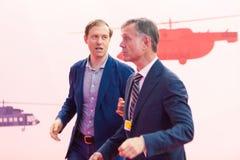 MOSKAU, RUSSLAND - 23. MAI 2015: Minister der Industrie und des Handels der Russischen Föderation Denis Manturov beim HeliRussia  Lizenzfreie Stockbilder