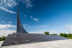 MOSKAU, RUSSLAND - 20. MAI 2009: Monument zu den Eroberern von Spase Lizenzfreie Stockbilder