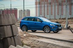 MOSKAU, RUSSLAND - 20. Mai 2017 POLESTAR VOLVOS XC60, VorderSideansicht Test von neuem Polestar Volvos XC60 Dieses Auto ist AWD k Lizenzfreies Stockbild