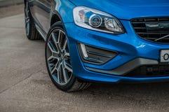 MOSKAU, RUSSLAND - 20. Mai 2017 POLESTAR VOLVOS XC60, VorderSideansicht Test von neuem Polestar Volvos XC60 Dieses Auto ist AWD k Lizenzfreie Stockfotos