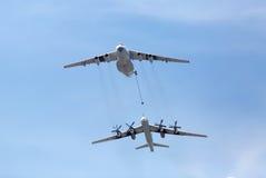 MOSKAU, RUSSLAND - 9. MAI 2015: Russische Luft-Lufte Brennstoffaufnahme der Luftwaffe IL-78M Lizenzfreies Stockbild