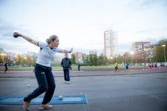 MOSKAU, RUSSLAND - 13. MAI 2017: Russischer Athlet Elena Alekseeva t Stockbilder