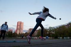 MOSKAU, RUSSLAND - 13. MAI 2017: Russischer Athlet Yulia Shafenkova Stockbild