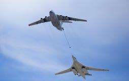 MOSKAU, RUSSLAND - 8. MAI: strategische Flugfördermaschine TU-160 Lizenzfreies Stockfoto