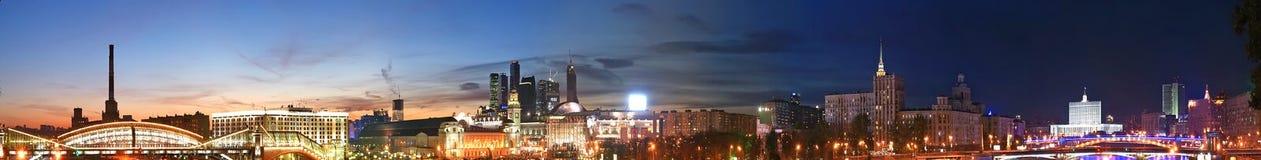 Moskau, Russland. Nacht. Panoramische Ansicht Lizenzfreie Stockbilder
