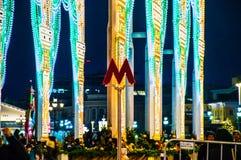 Moskau, Russland, neues Jahr, U-Bahn, Untergrund, Weihnachten stockfoto