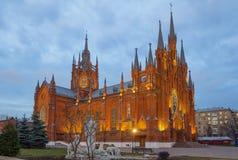 Moskau, Russland, Roman Catholic Cathedral der Unbefleckten Empfängnis der gesegneten Jungfrau Maria lizenzfreie stockfotos
