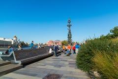 Moskau, Russland - 24. September 2017 Ansicht des Monuments zu Peter der Große mit Yakimanskaya-Damm Stockbilder