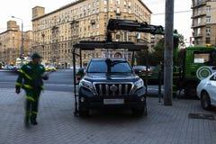 Moskau; Russland, September - erstes--Zwei tausend sechzehn Jahr; Funktion von Â-Schleppseil truckÂ, Autoevakuierung für parkende Stockbild