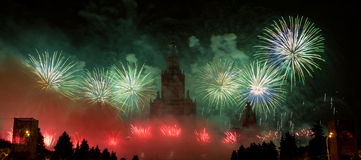 Moskau, Russland - 25. September 2016: Feuerwerke am Festival Stockfotos
