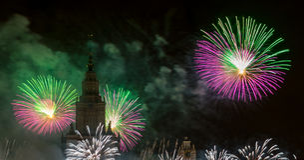 Moskau, Russland - 25. September 2016: Feuerwerke am Festival Stockfotografie