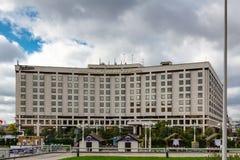 MOSKAU, RUSSLAND - 16. September 2017 - Hotel Radisson Slavyanskaya und Geschäftszentrum auf Europa-Quadrat in Moskau Lizenzfreies Stockfoto