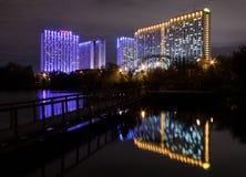 Moskau, Russland - 10. September 2016: Nachtansicht belichteter Ausflug Stockbilder