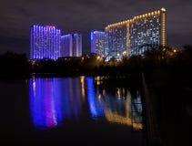 Moskau, Russland - 10. September 2016: Nachtansicht belichteter Ausflug Lizenzfreies Stockbild