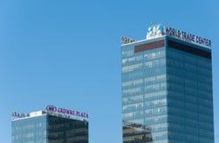 Moskau, Russland - 09 21 2015 World Trade Center und Hotel Crowne-Piazza auf Krasnopresnenskaya-Damm Lizenzfreies Stockbild