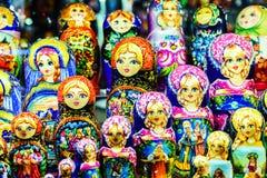 Moskau Ryssland - Juli 22, 2016: Ryska bygga bodockor Matreshka Royaltyfri Bild
