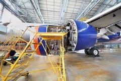 Abgebaute Turbine der Reparatur von Aeroflot-Flugzeugen Lizenzfreies Stockbild