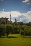 Moskau-Sommerlandschaft an einem sonnigen Tag Stockfotografie