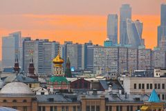 Moskau-Sonnenuntergang Lizenzfreie Stockfotos