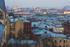Moskau-Sonnenuntergang Stockfotos