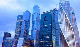 Moskau-Stadtwolkenkratzer Ist internationales Geschäftszentrum Moskau-Stadt-Moskaus ein modernes Gewerbegebiet in der Mitte von M Lizenzfreies Stockbild
