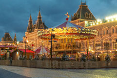 Moskau verzierte Roter Platz für des neuen Jahres und des Weihnachten Feiertage Lizenzfreies Stockfoto