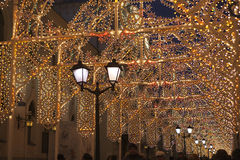 Moskau verzierte Tunnel für neues Jahr und Weihnachten Stockfoto