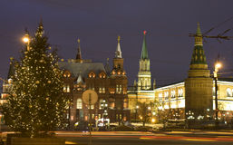 Moskau, Weihnachtsbaum nahe Kremlin Lizenzfreie Stockfotografie