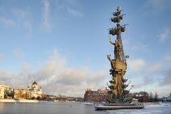 Moskau-Winter-Stadtbild mit Monument zu Peter der Große Lizenzfreie Stockbilder