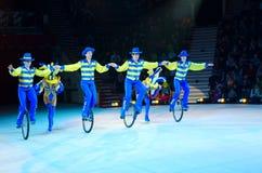 Moskau-Zirkus auf Eis auf Ausflug Velorevue-velo Zahl Schlittschuhläufer unter Richtung von Cyril Abramov Lizenzfreies Stockfoto