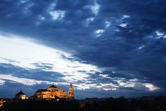 Moskee bij nacht Stock Foto