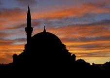 Moskee bij zonsondergang Stock Afbeelding
