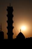 Moskee bij zonsondergang Stock Foto's