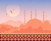 Moskee bij zonsondergang royalty-vrije illustratie