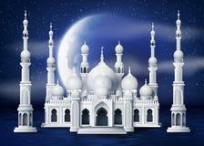 Moskee in de nachtmaan royalty-vrije illustratie