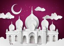 Moskee in de nachtmaan stock illustratie