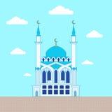 Moskee De vlakke ontwerpbouw, affichemalplaatje vector illustratie
